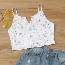 Floral Notch Crop Cami