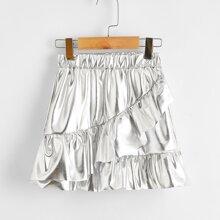 Toddler Girls Metallic Ruffle Trim A-line Skirt