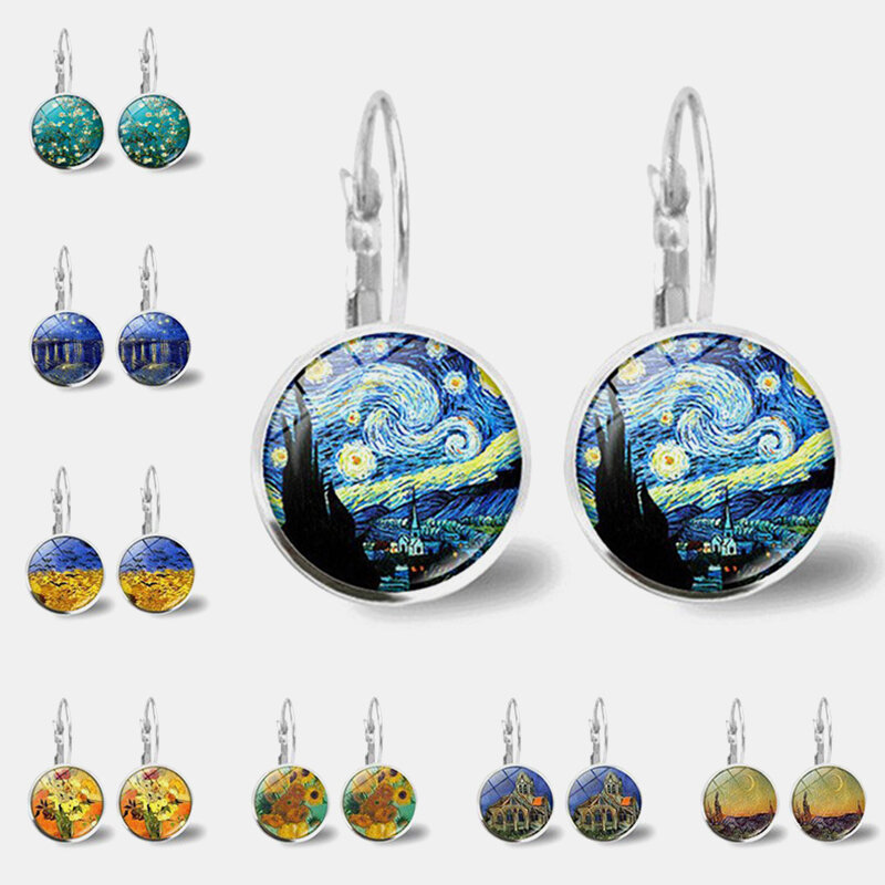 Vintage Geometric Round Oil Painting Series Earrings Metal Glass Gem Daisy Pendant Ear Clips