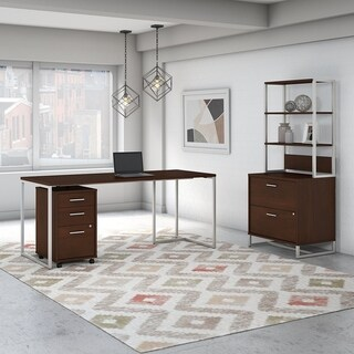 Method Desk with File Cabinets and Hutch from Office by kathy ireland? (Walnut Finish)