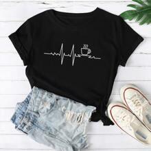 T-Shirt mit Tasse und Geo Muster