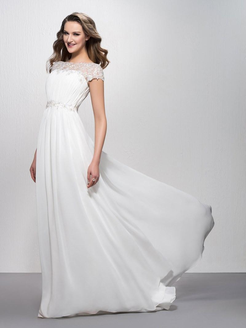 Fancy Appliques Bateau Neckline Short Sleeves Evening Dress