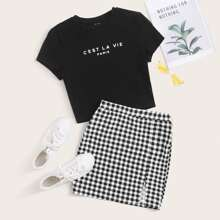 Slogan Graphic Top & Split Hem Gingham Skirt Set