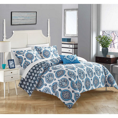 Chic Home Cedar Duvet Set, One Size , Blue