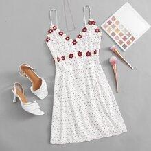 Floral Applique Split Hem Swiss Dot Dress