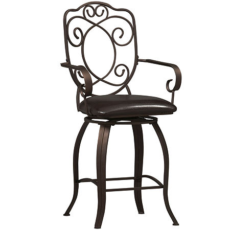 Crested-Back Barstool, One Size , Brown
