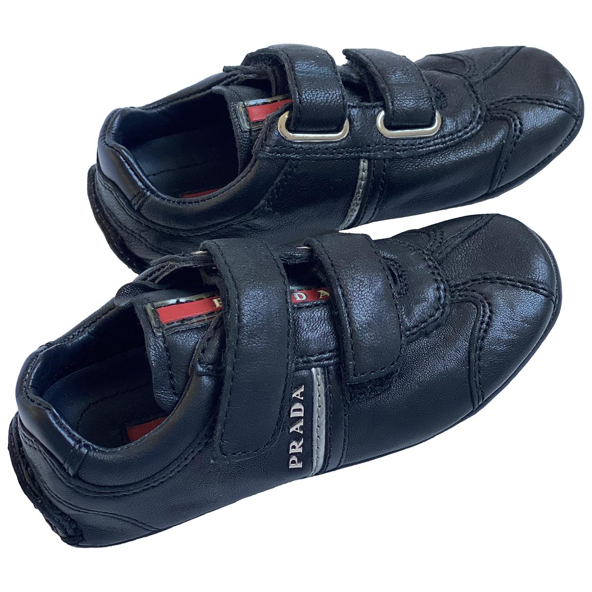 Prada N Black Leather Trainers for Kids 23 FR