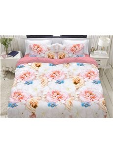 Sweet And Elegant Roses 3D Printed 4-Piece Polyester Bedding Sets/Duvet Covers