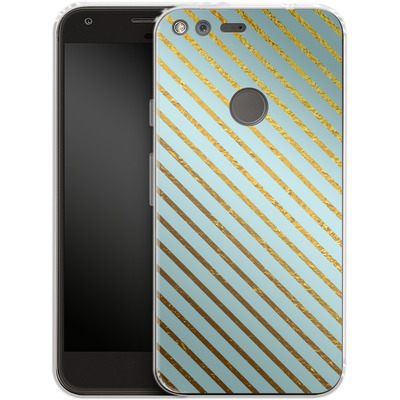 Google Pixel Silikon Handyhuelle - Gold Foil Stripe von Khristian Howell