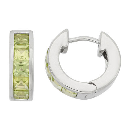 Lab Created Green Peridot Sterling Silver Clip On Earrings, One Size , No Color Family