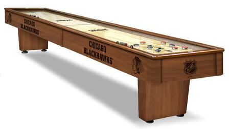 SB12ChiHwk Chicago Blackhawks 12' Shuffleboard Table with Solid Hardwood Cabinet  Laser Engraved Graphics  Hidden Storage Drawer and Pucks  Table