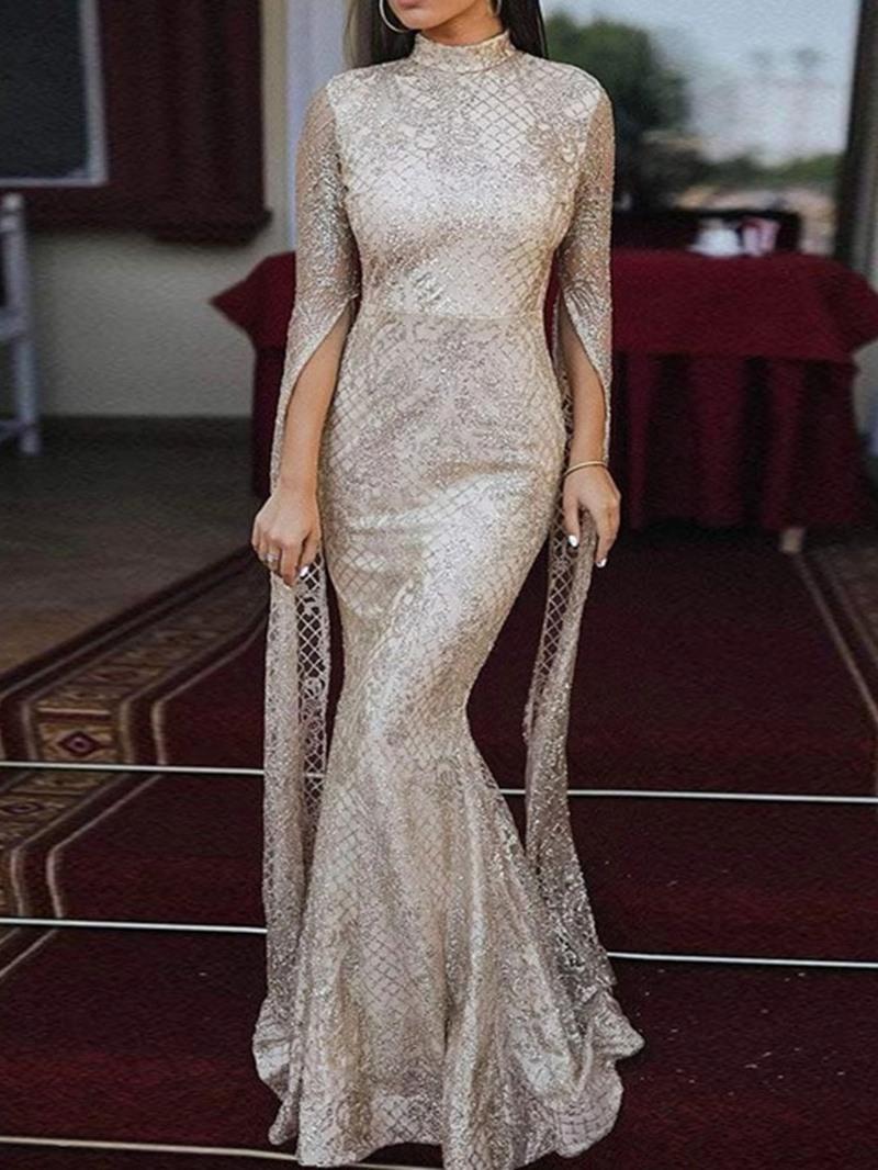 Ericdress Floor-Length Sequins Long Sleeve Fall Elegant Dress