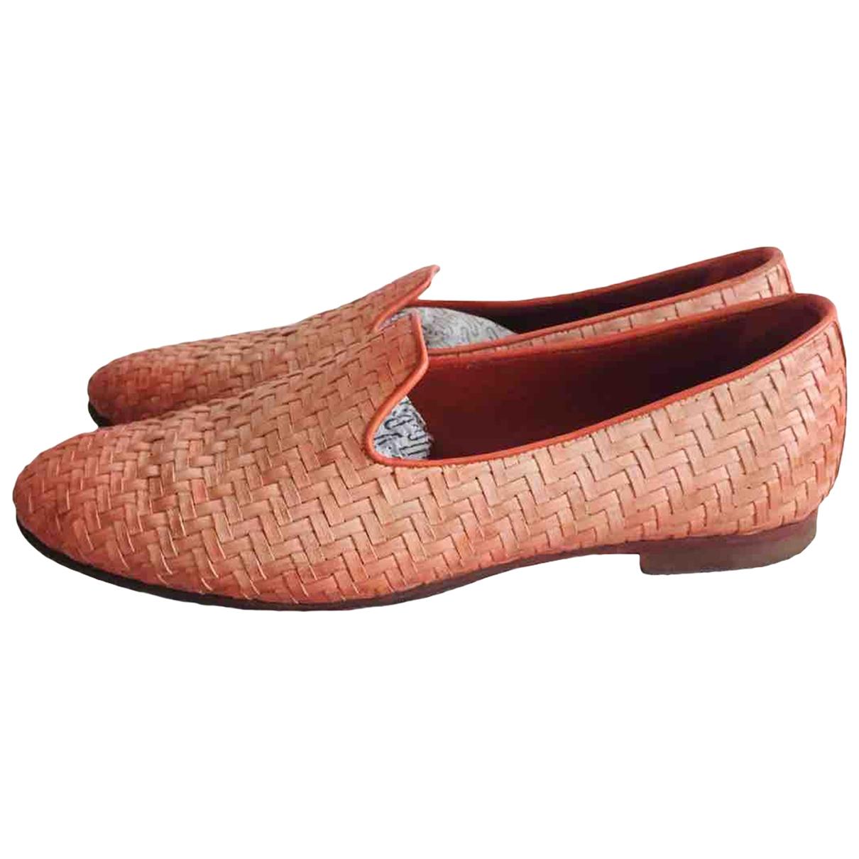 Santoni \N Orange Leather Flats for Women 38 IT