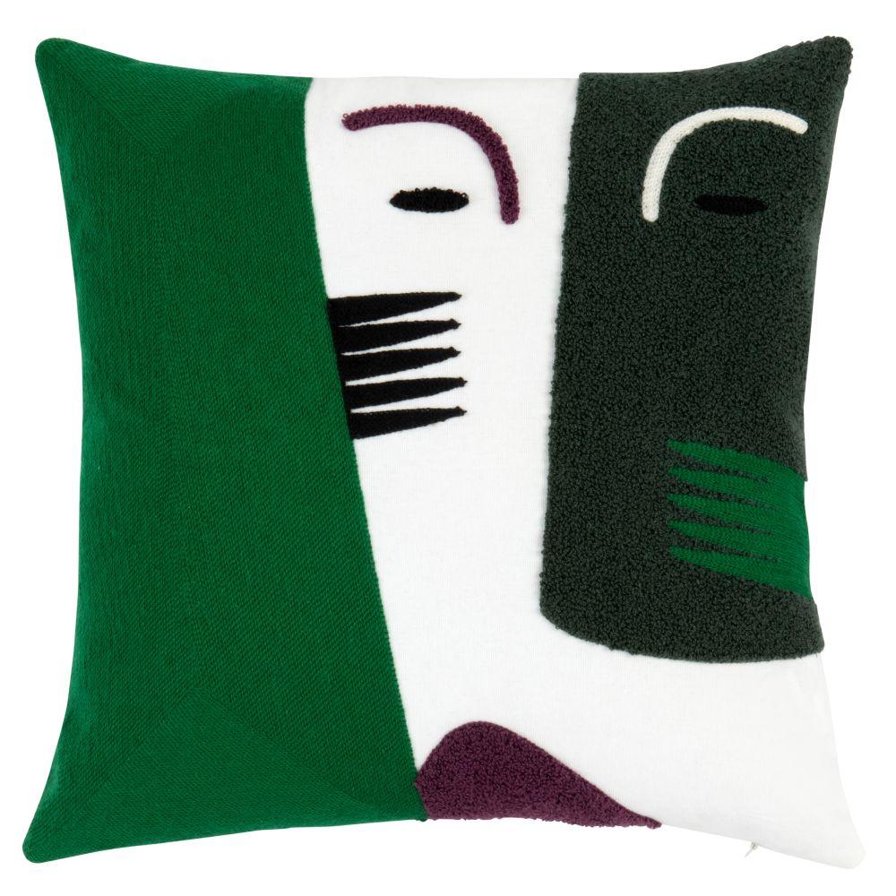 Kissenbezug aus Baumwolle in Gruen, Ecru und Violett 40x40