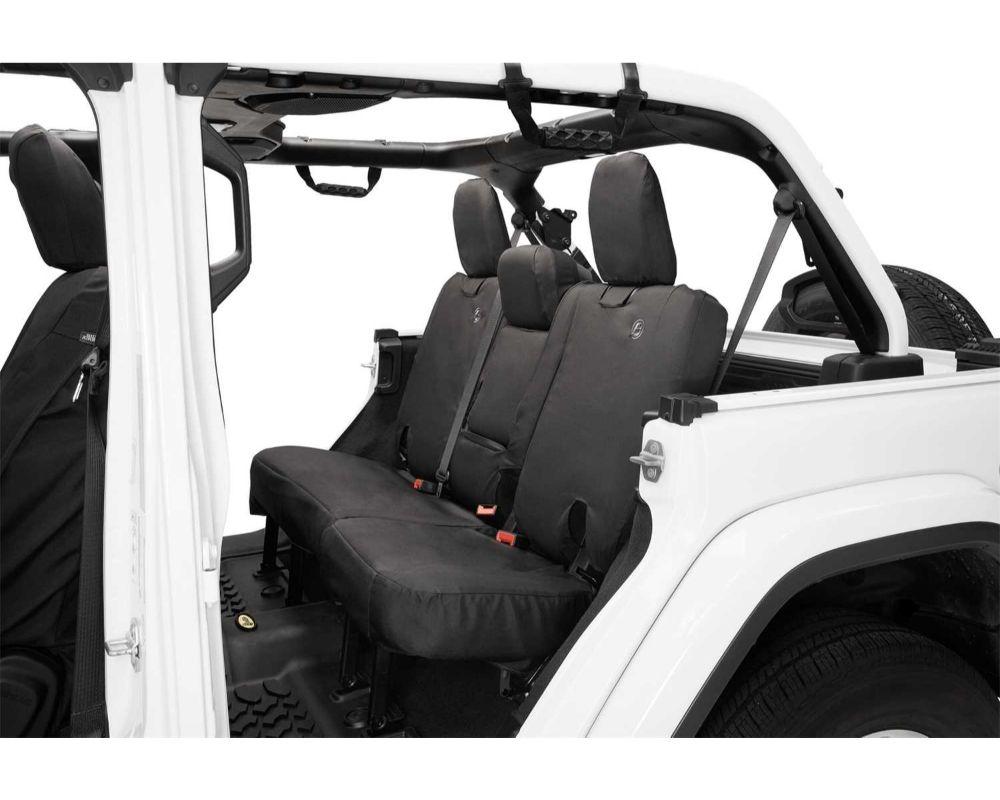 Bestop 29291-35 Black Diamond  Rear Seat Covers w/ Fold Down Arm Rest Jeep Wrangler 4-Door 2018-2021