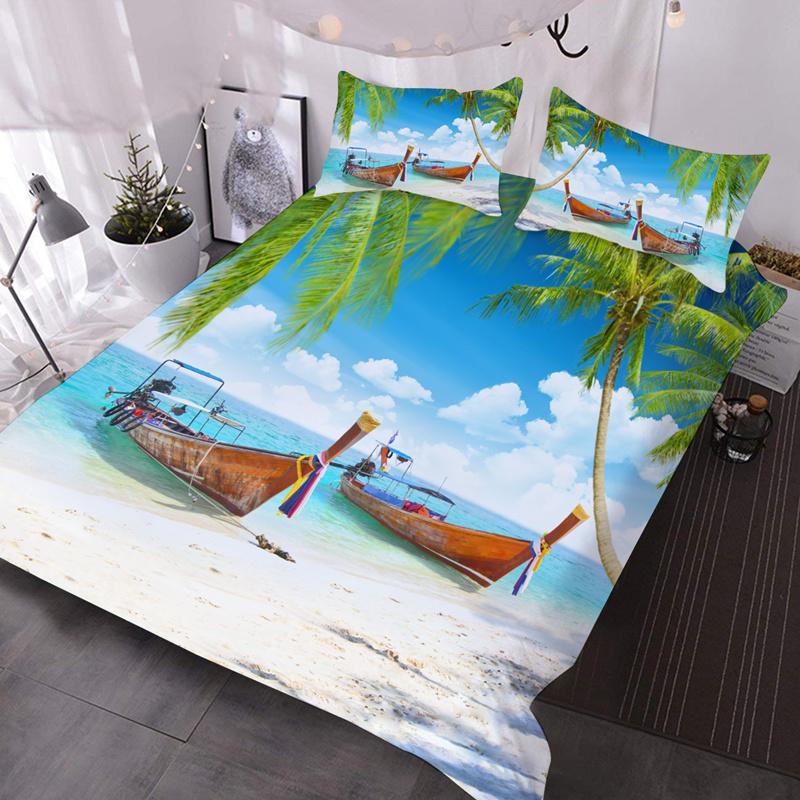 Summer Hoilday Beach 3Pcs Lightweight Down Comforter Insert with 2 Pillow Covers Microfiber Wrinkle/Fade Resistant 3D Comforter