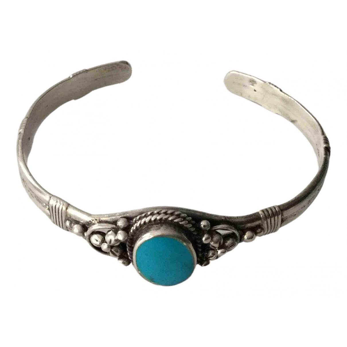 Non Signé / Unsigned Motifs Ethniques Blue Silver bracelet for Women \N