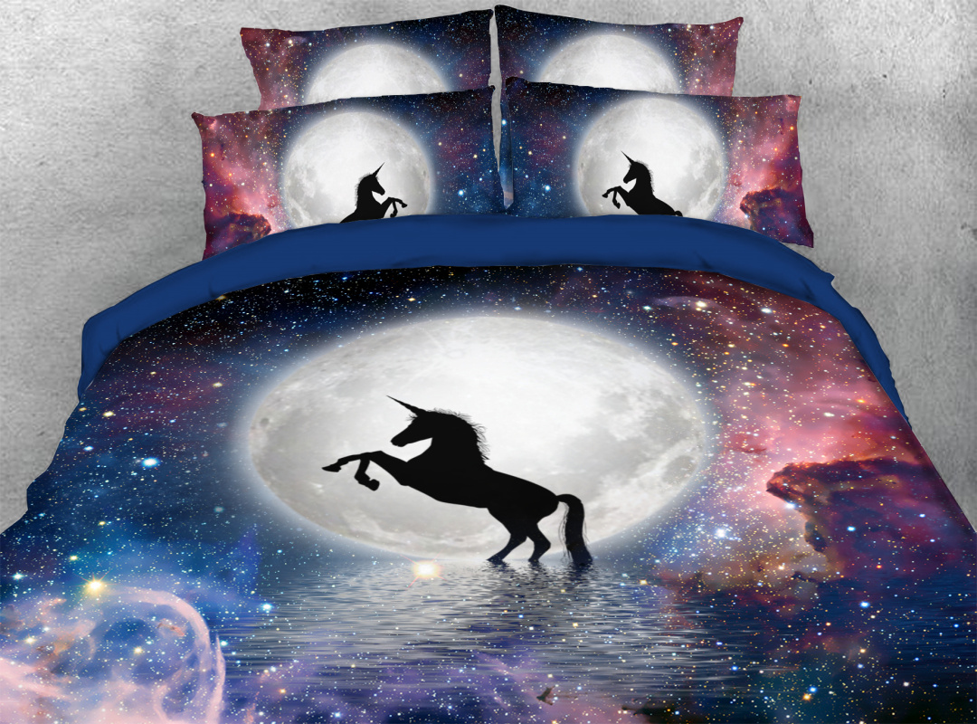 Galaxy Unicorn 3D Animal 4pcs Bedding Sets Zipper Colorfast Hard-wearing Duvet Cover with Corner Ties
