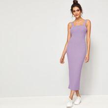 Split Hem Rib-knit Solid Dress
