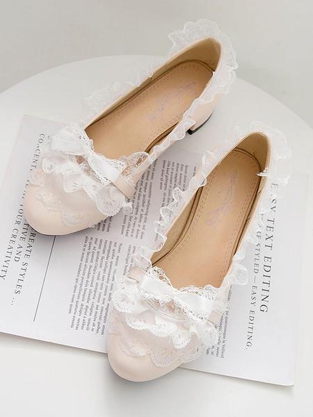 Milanoo Sweet Lolita Pumps Lace PU Leather Chunky Heel Lolita Shoes