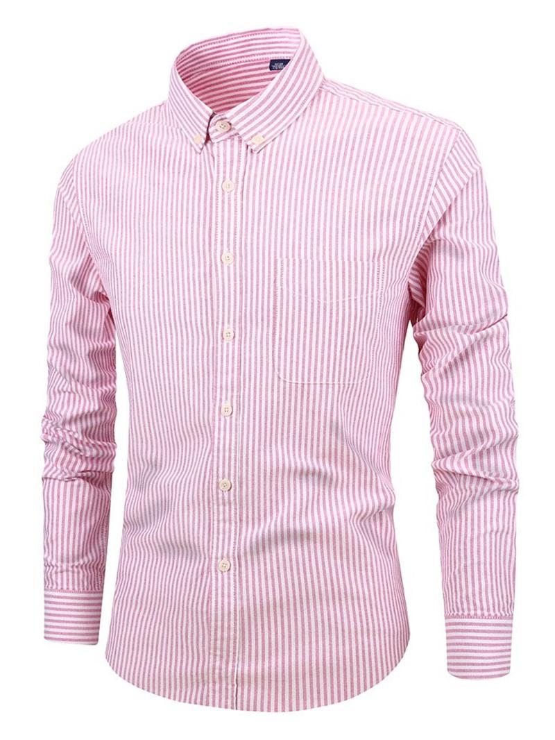 Ericdress Stripe Casual Lapel Slim Mens Shirt