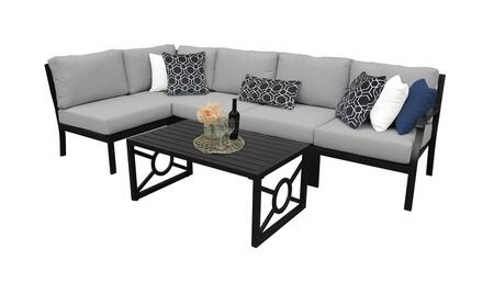 MADISON-06q-GREY Kathy Ireland Homes and Gardens Madison Ave. 6 Piece Aluminum Patio Set 06q with 1 Set of Snow and 1 Set of Slate