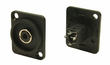 RS PRO Vertical Panel Mount XLR Connector, Female, Black