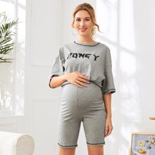 Maternity Drop Shoulder Letter Graphic Contrast Stitch Top & Shorts Set