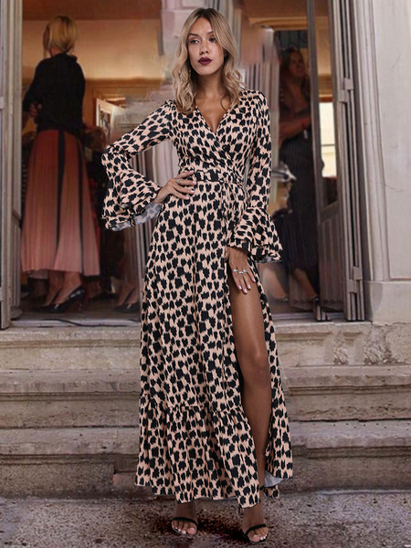Milanoo Maxi Dresses Long Sleeves Leopard Print V-Neck Ruffles High Split Long Dress Floor Length Dress