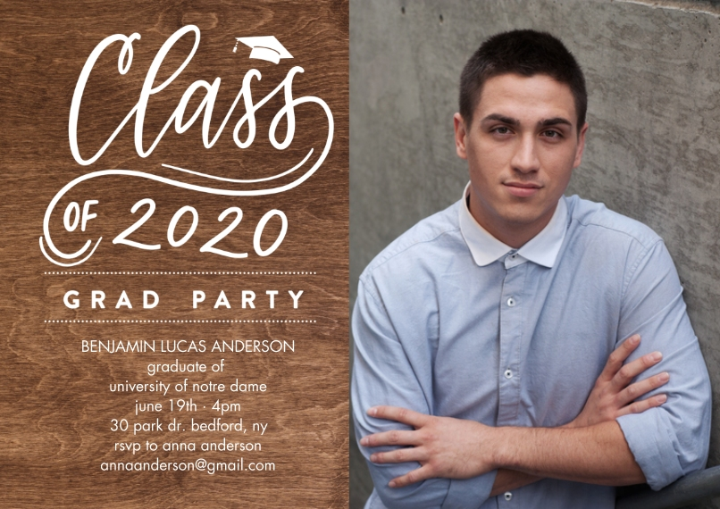 2020 Graduation Invitations 5x7 Cards, Premium Cardstock 120lb with Rounded Corners, Card & Stationery -Grad Party 2020 Simple by Tumbalina