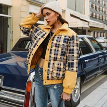 Button Front Patch Pocket Plaid Puffer Jacket