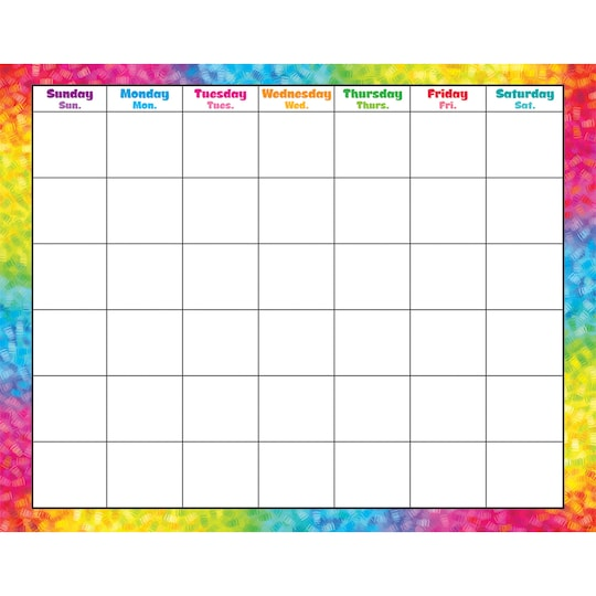 Trend Enterprises® Colorful Brush Strokes Wipe-Off® Monthly Calendar, ct Of 6 | Michaels®
