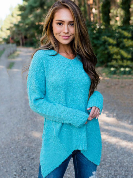 Milanoo Women Pullover Sweater Long Sleeve V Neck Irregular Casual Knitwear