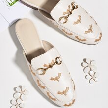 Bat Embroidered Loafer Flat Mules