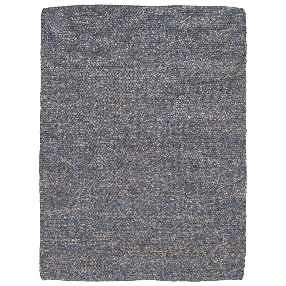ECARPETGALLERY  Braid weave Sienna Blue, Grey Wool Rug - 5'6 x 7'3 (Blue, Dark Grey - 5'6 x 7'3)