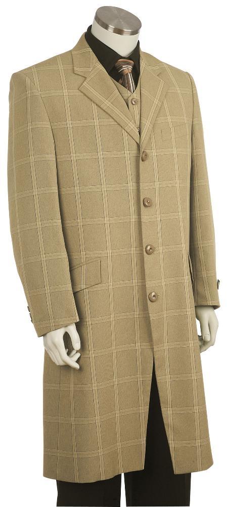 4 Button Fashion Khaki Zoot Suit Mens