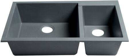 AB3319UM-T 34 Double Bowl Kitchen Sink with Granite Composite and Undermount Installation Hardware in