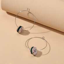 Button Decor Hoop Earrings