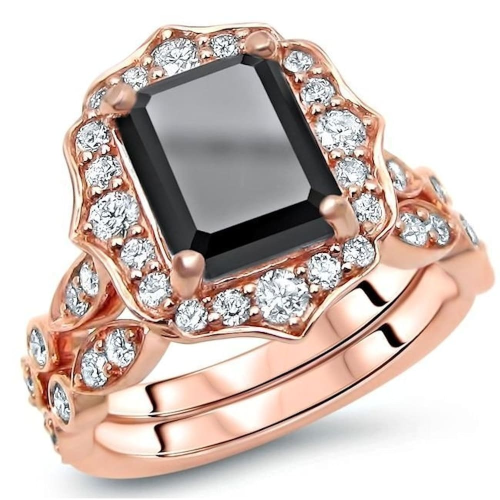 14k Rose Gold 3 & 4/5ct Black Emerald Cut Diamond Engagement Ring Bridal Set (5)