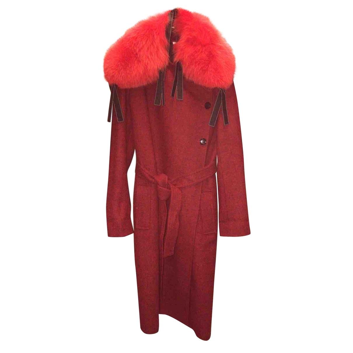 Celine - Manteau   pour femme en fourrure - bordeaux