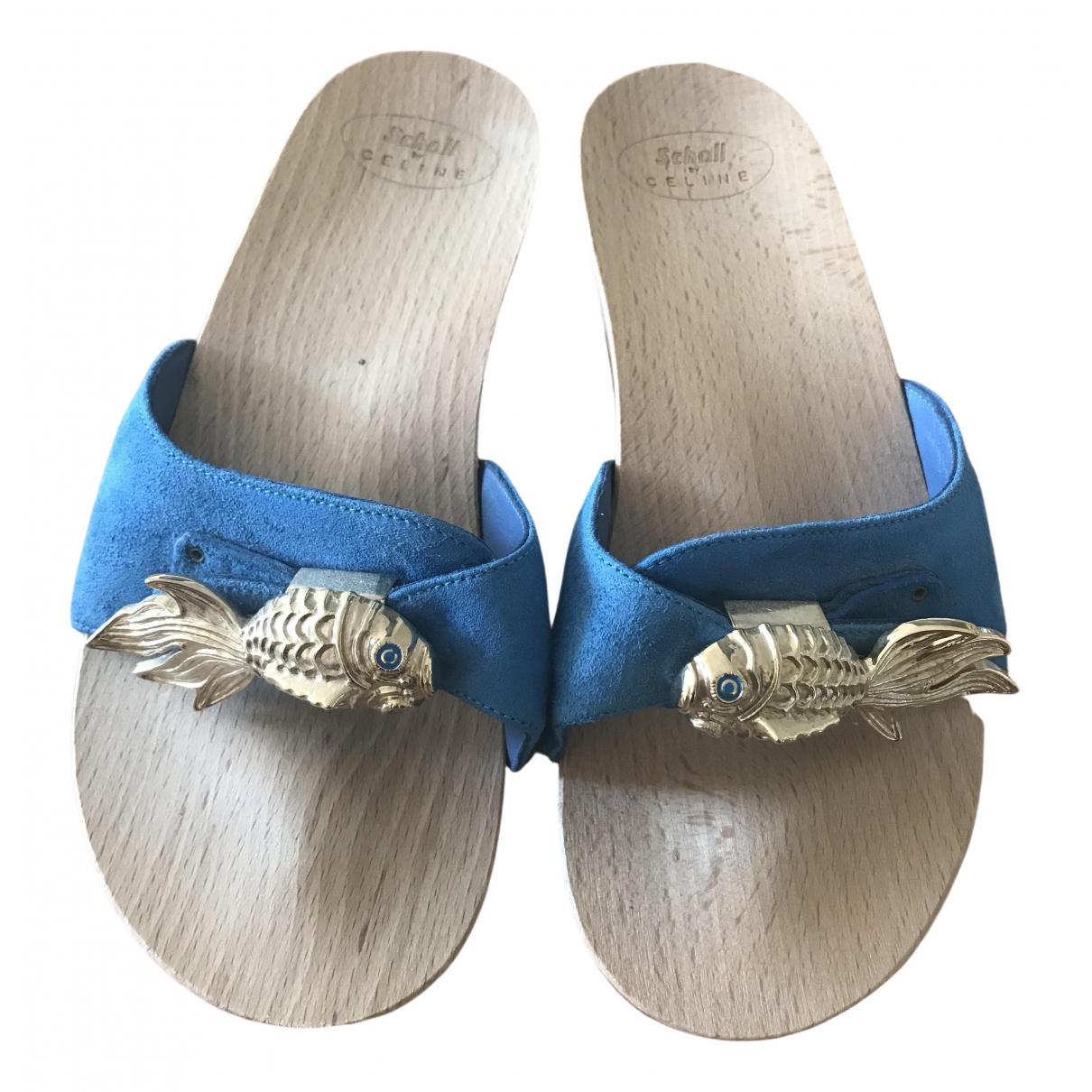 Celine \N Sandalen in  Blau Veloursleder