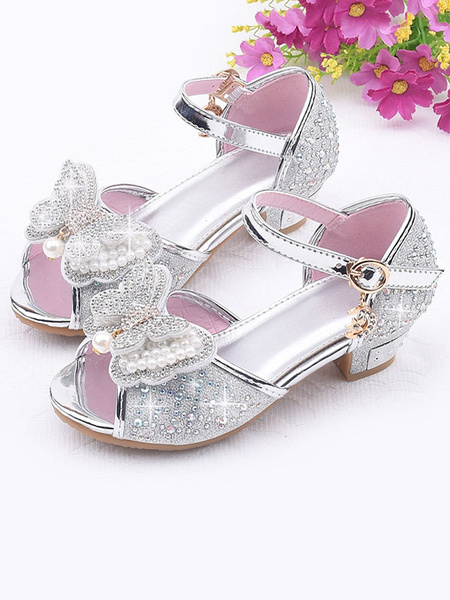 Milanoo Flower Girl Shoes Silver Sequined Cloth Bows Party Princess Shoes For Kids