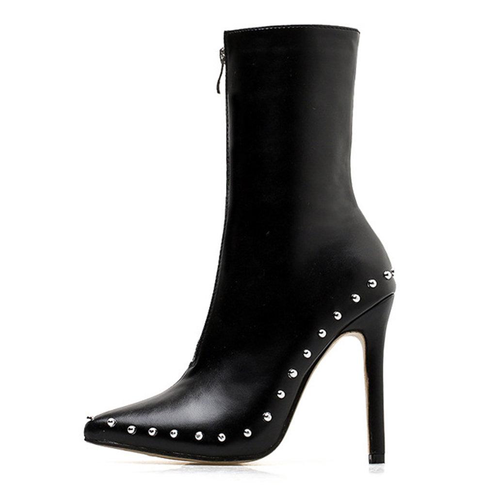 Metal Beads Zipper Stiletto Heel Mid Boots