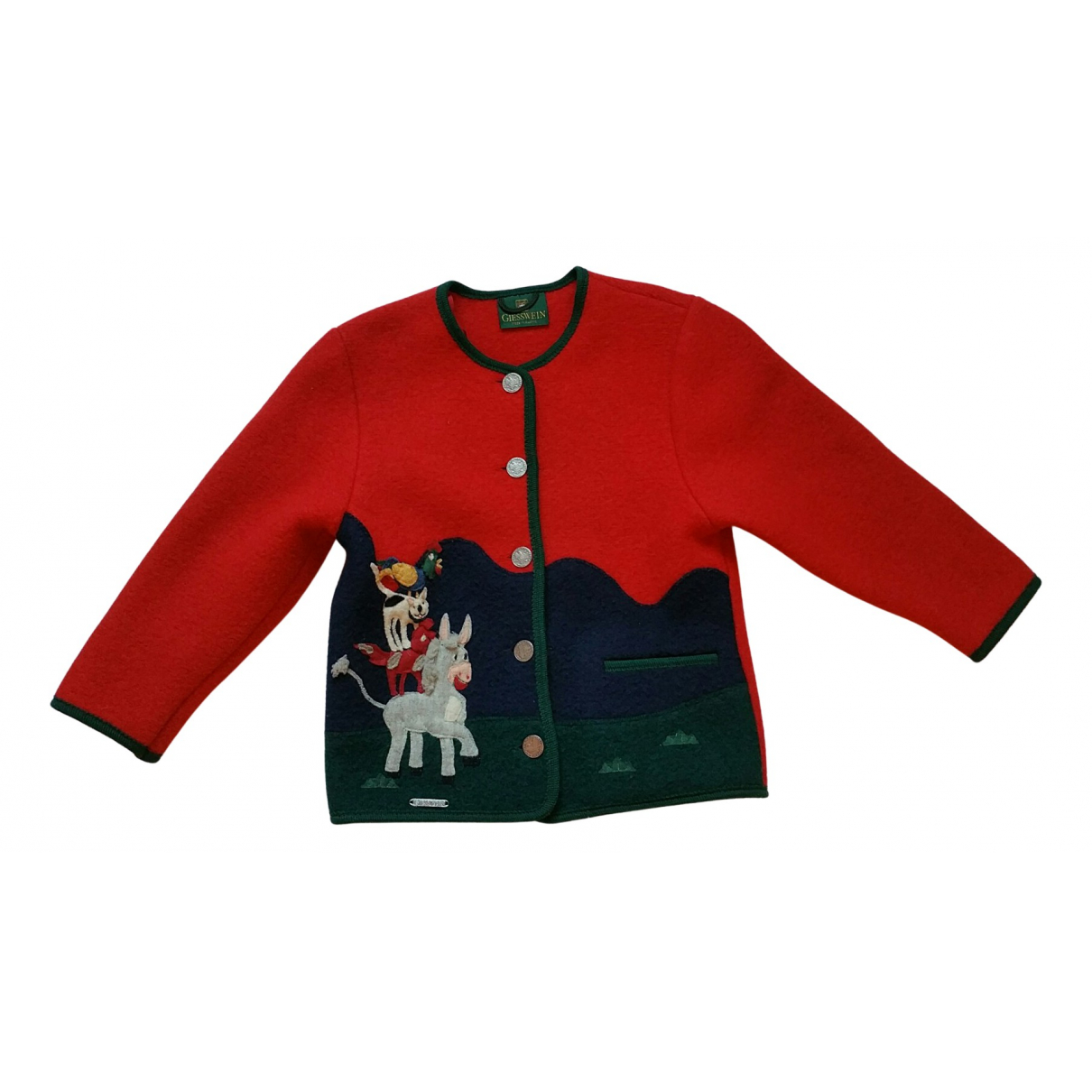 Non Signé / Unsigned N Red Wool Knitwear for Kids 8 years - up to 128cm FR