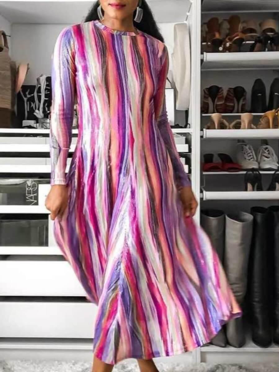 LW Lovely Trendy O Neck Tie-dye Purple Mid Calf Dress