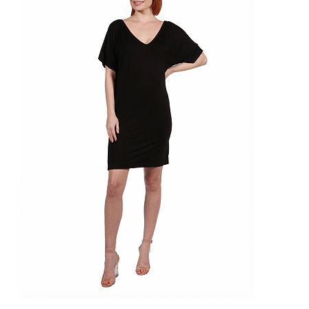24/7 Comfort Apparel V-Neck Fit Resort Dress, Large , Black