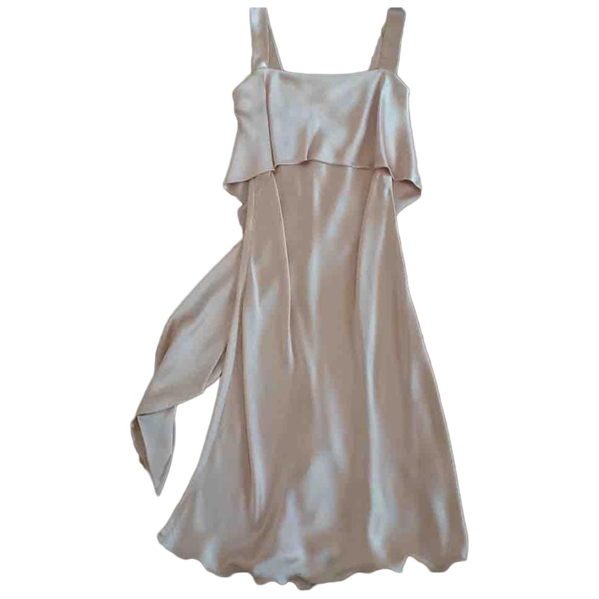 Non Signé / Unsigned \N Beige Silk dress for Women XS International