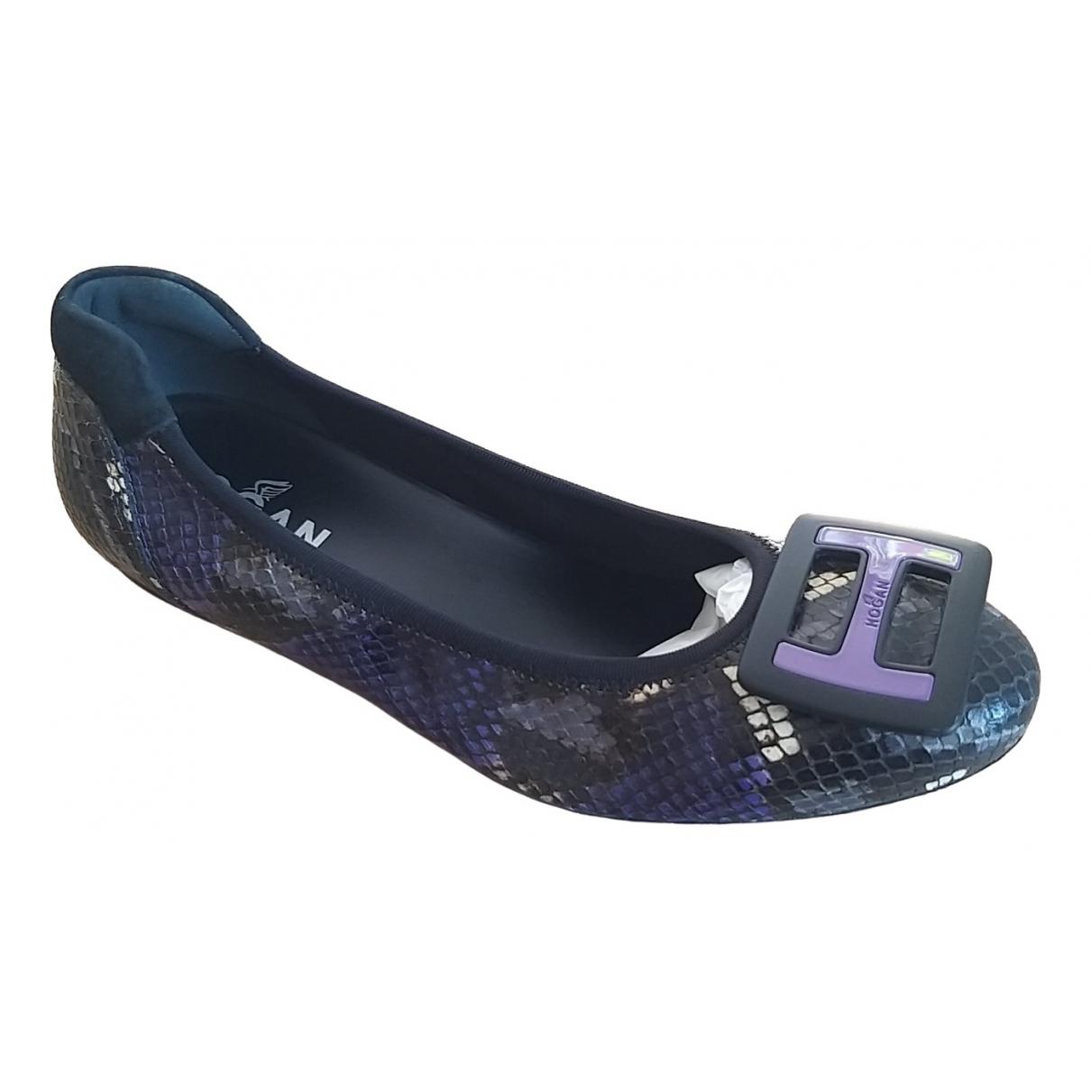 Hogan - Ballerines   pour femme en cuir exotique - violet