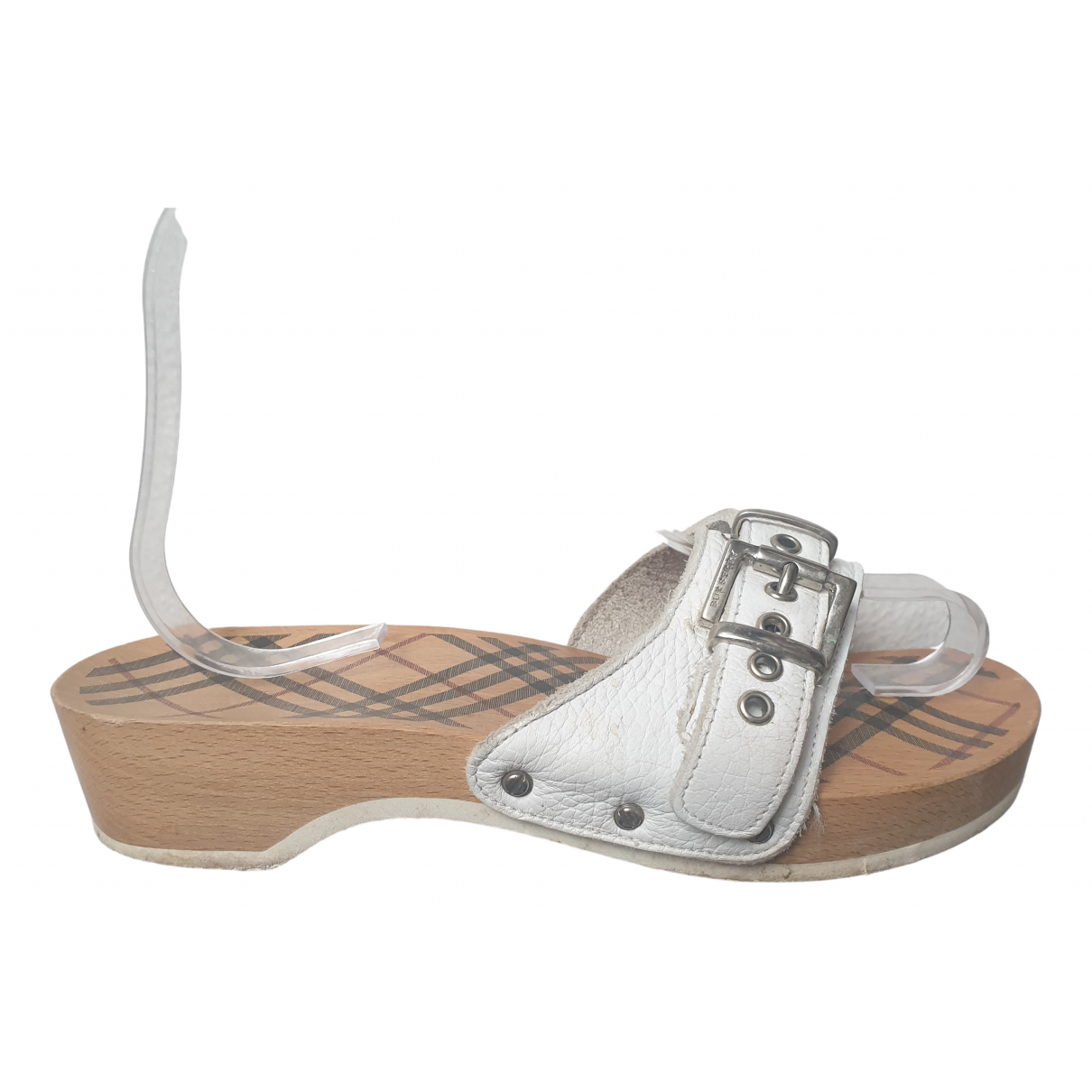 Burberry N White Leather Sandals for Women 38 EU