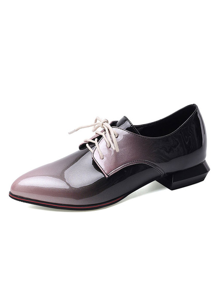 Milanoo Women\'s Oxfords Academic Ombre Pointed Toe Lace Up Casual Shoes